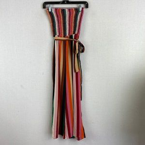 GUESS Strapless Striped Jumpsuit